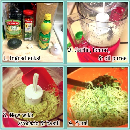 Step-by-step visual instructions for avocado pasta.