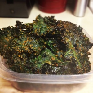 Photo of homemade kale chips.