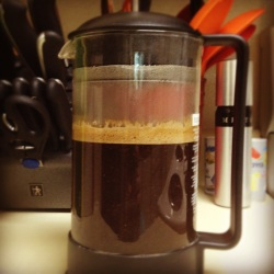 Photo of coffee brewing in french press